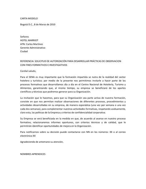 carta formal universidad carta modelo practicas