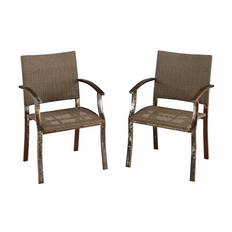 Vinyl Patio Chairs Shop Home Styles Outdoor 2 Count Aged Metal Woven Vinyl Patio Dining Chair At Lowes