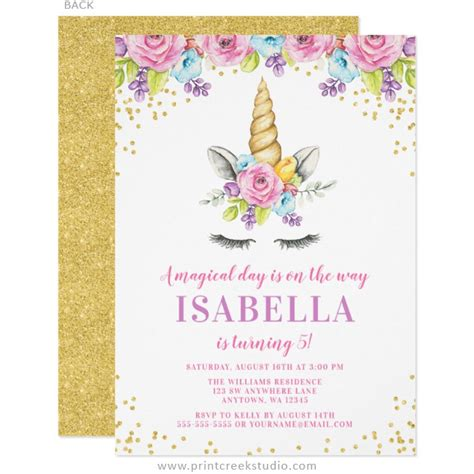 unicorn birthday invitation unicorn floral birthday invitation unicorn watercolor floral unicorn birthday invitations print creek studio inc