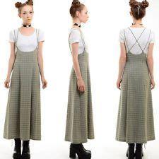 Midi Plaid Pinafore Dress vtg 90s plaid grunge overalls suspenders