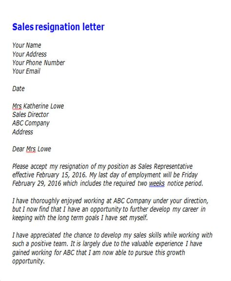 Business Resignation Letter Sle by Letters Of Resignation Sles Standard Resignation Letter Sales Report Template Professional