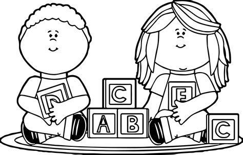 kids playing with blocks kids coloring page wecoloringpage
