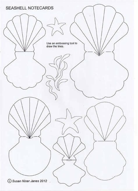shell card template the papercraft post seashell notecards