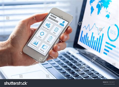 mobile human resources human resources hr management app concept stock photo