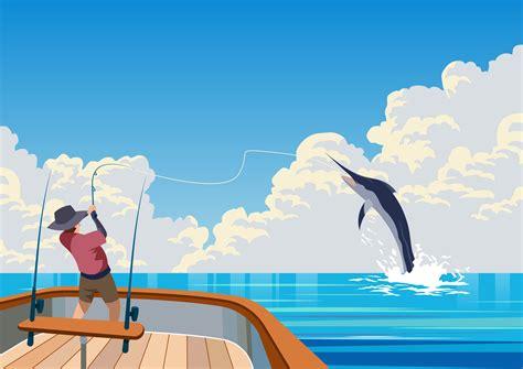 deep sea fishing boat vector deep sea fishing download free vector art stock