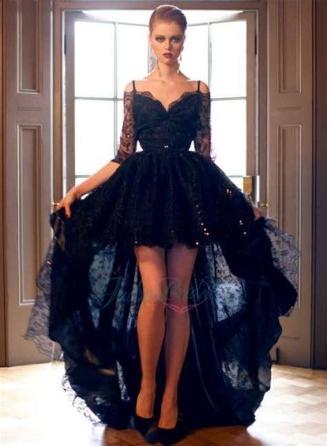 black prom dresses 2015 lj14137 2015 black off shoulder half long sleeve high low