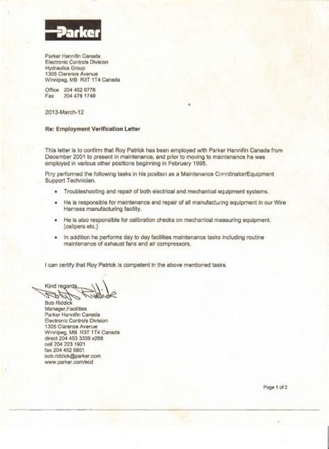 Employment Verification Letter For Canada Visa Sle Employment Verification Letter For Canada Visa Employment Letter In Canada Letter Sle