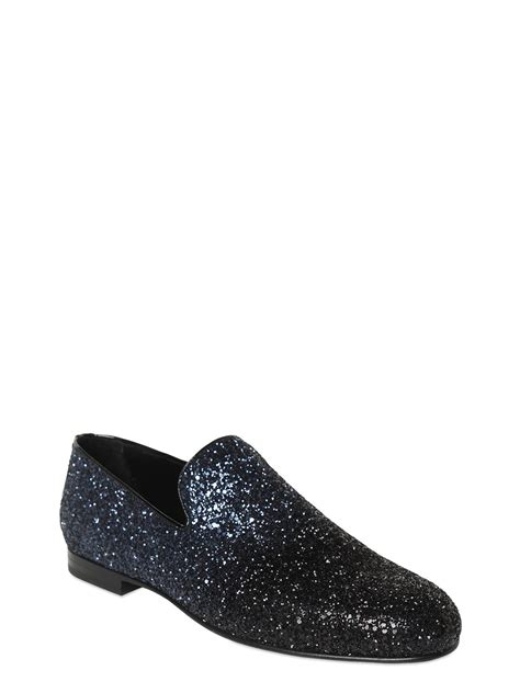 jimmy choo loafers womens lyst jimmy choo gradient glittered leather loafers in blue