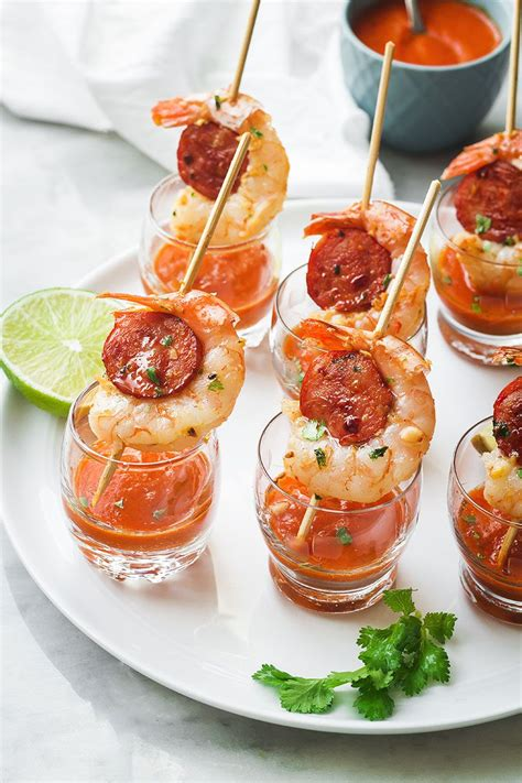 appetizers horderves shrimp and chorizo appetizers with roasted pepper soup