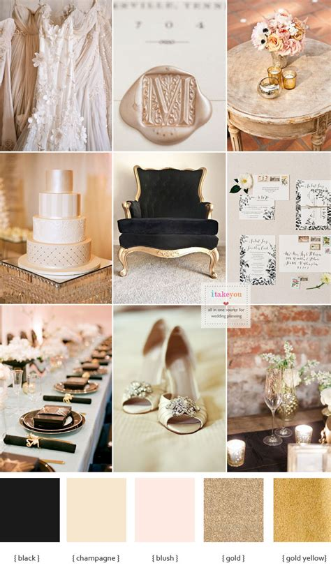 chagne and black wedding theme for a luxurious wedding