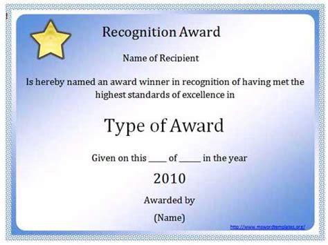 word award template 10 best images of microsoft word certificate template