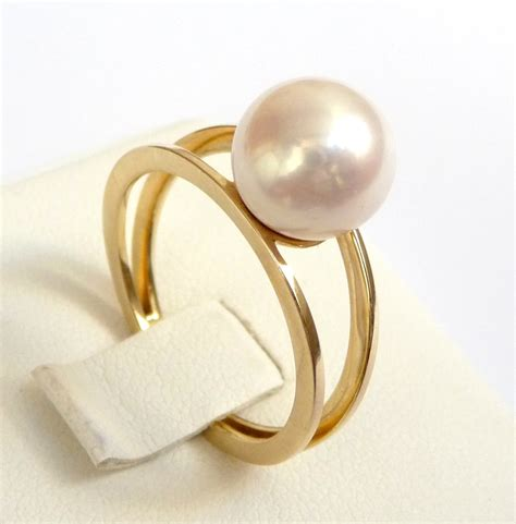 Pearl engagement ring gold pearl ring perfect gift promise