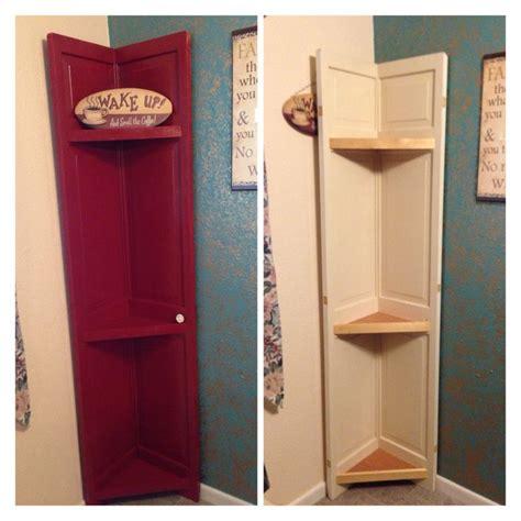 diy shutter doors turned into corner shelf our diy