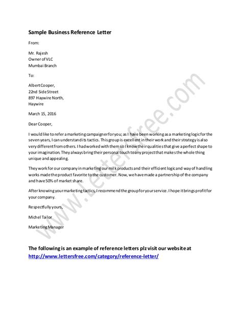 Business Letter Sle Reference Business Reference Letter Exle