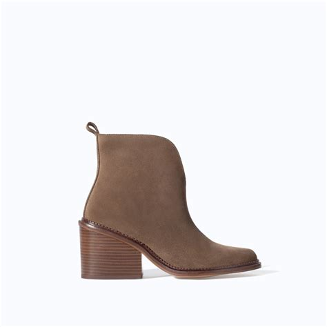 zara low cut leather ankle boot in gray taupe lyst