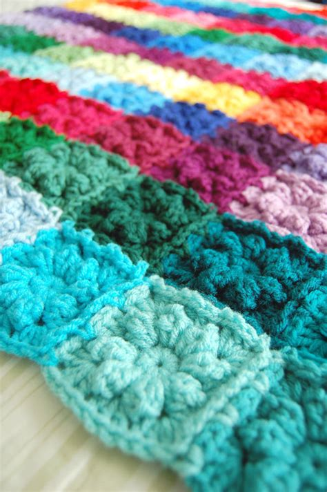 Patchwork Square Afghan - colorful scrappy rainbow patchwork flower square afghan