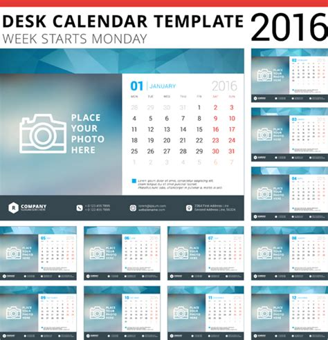 desk calendar templates desk calendar template 2016 vector material 05 vector