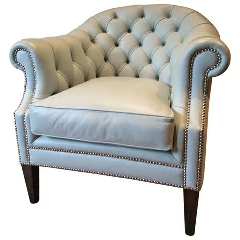 button back armchairs antique style club chair leather button back armchair duck egg blue at 1stdibs