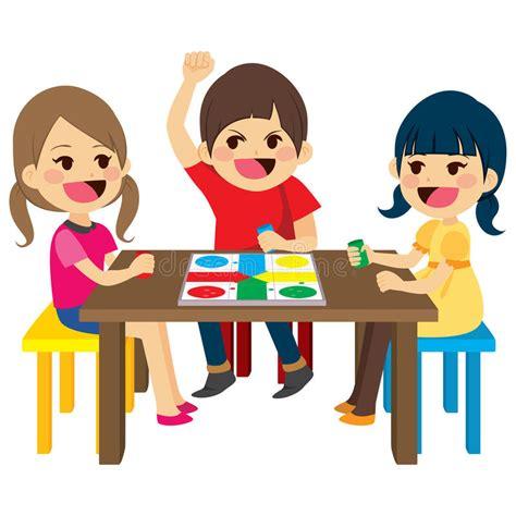 clipart bambini giocano bambini giocano gioco da tavolo illustrazione