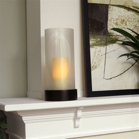 hurricane ls with flameless elmhurst etched leaf hurricane with flameless pillar candle