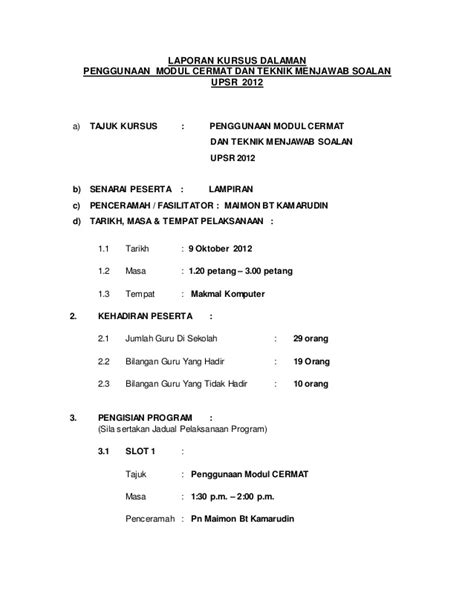 format laporan upsr format laporan kursus dalaman