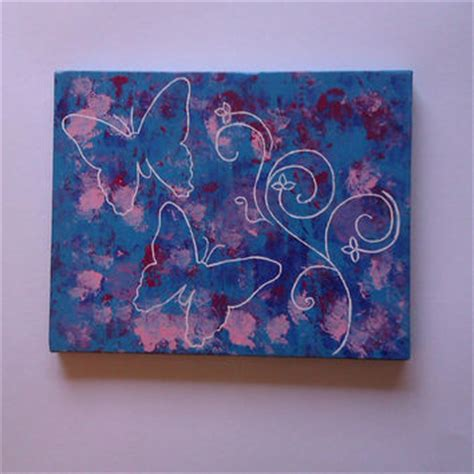 painting for tweens blue butterflies original acrylic canvas from starrjoy16