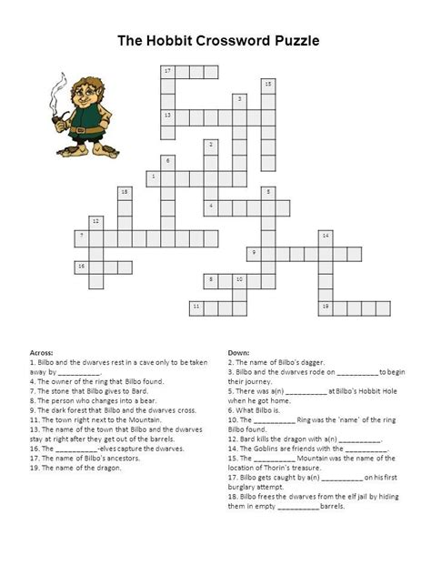 the barcode tattoo chapter questions and answers hobbit crossword middle earth free printables