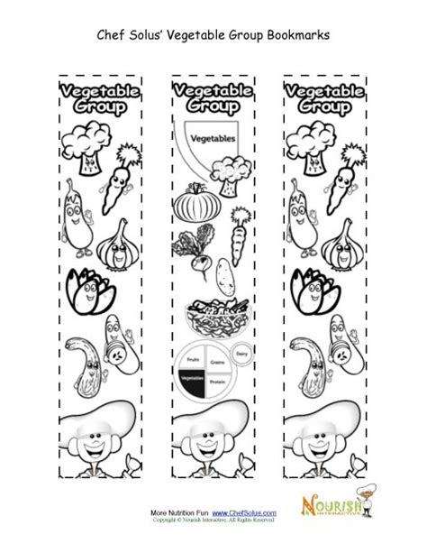 Bookmarks Coloring Vegetable Food Group Activity Chef