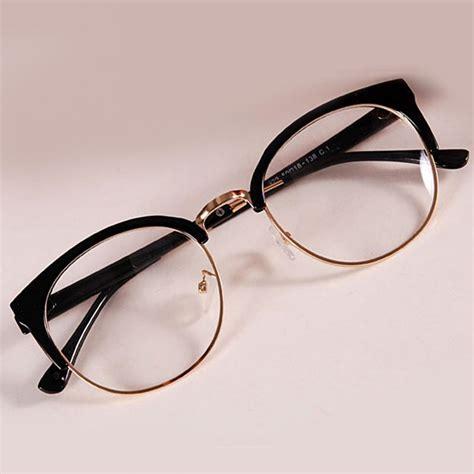 Kacamata Korean Vintage Classic Fashion Shape Frame Plain Glasses With Lens Brilliant Black new style anti radiation goggles plain glass spectacles fashion metal plastic semicircle