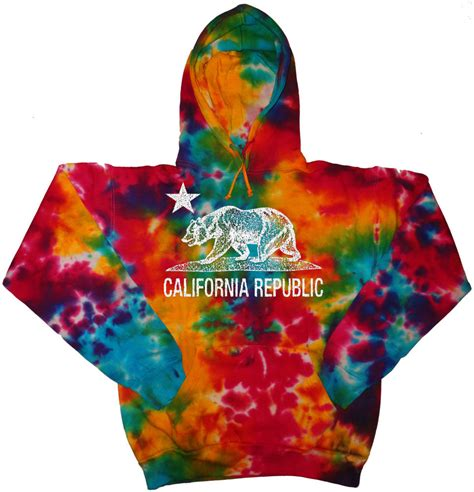 colorful hoodies tie dye california flag hoodie sweatshirt cali