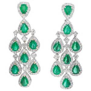 Emerald Chandelier Earrings Pear Shaped Emerald Gold Chandelier Dangle