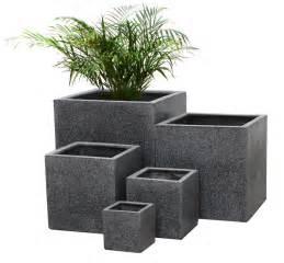 black poly terrazzo cube outdoor garden flower plant pot