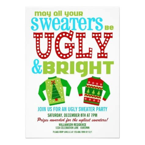 Ugly Christmas Sweater Party Flyer Invitation Templates Sweater Flyer Template