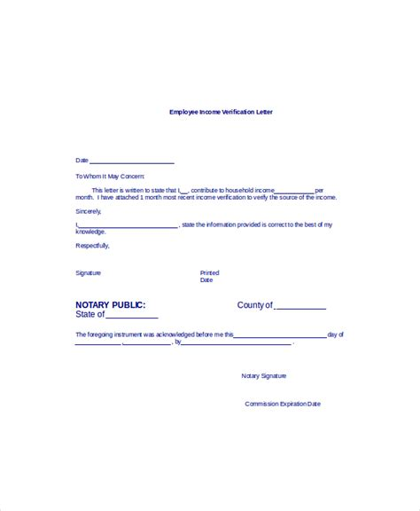 proof of income template income verification letter from employer sle
