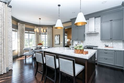 Gray Cabinets Contemporary Kitchen Atmosphere White Kitchen Cabinets Dark Hardwood Floors