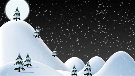 snow falling on a hillside with christmas trees can be