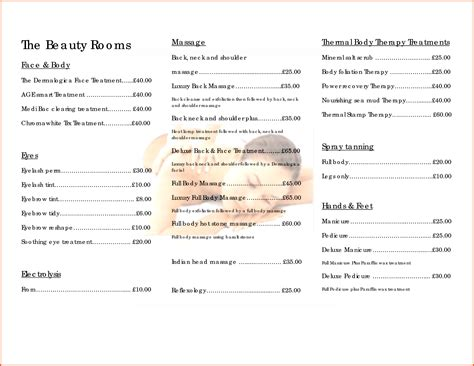 pin free salon price list templates on