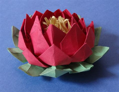 Origami Lotus Flower - how to make 20 petal lotus with stamen variation of