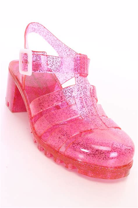 clear pink glitter jelly sandals pvc