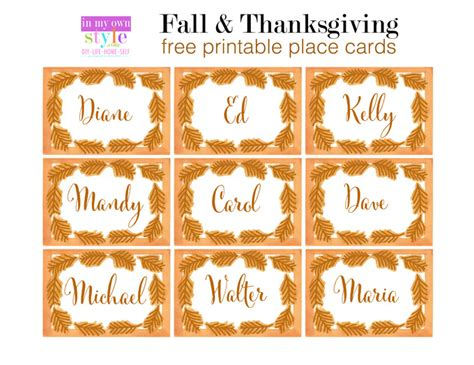 Decorating Printable Thanksgiving Place Cards | 10 minute decorating thanksgiving place cards in my own