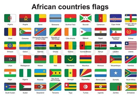 african countries flags set of african countries flag buttons with rounded corners