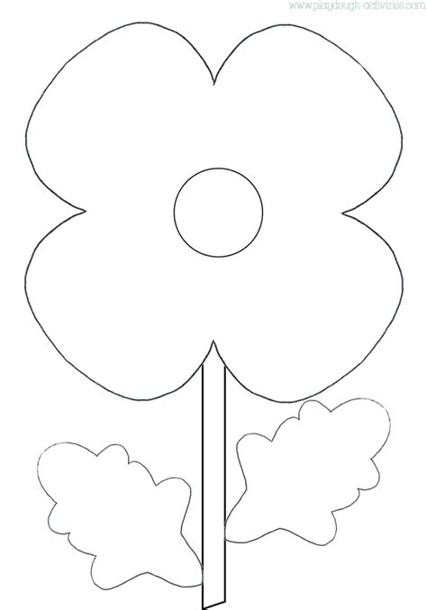 poppy template for children poppy outline template colouring picture