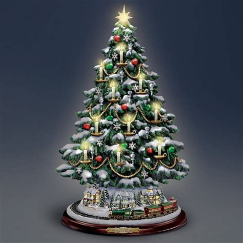 tabletop christmas tree with led lights kinkade candlelit tabletop tree with lights