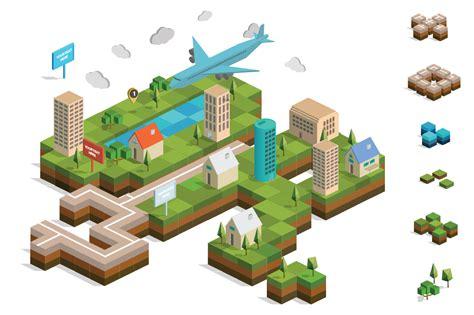 Online Building Map Maker isometric city map builder vector illustrations on
