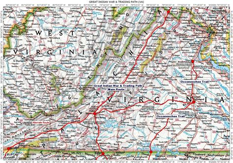 highway map of virginia historic roads trails paths migration routes virginia