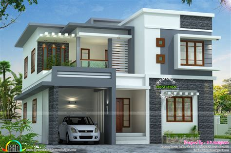box type home in beautiful style kerala home design and 2767 sq ft flat roof style home kerala home design and