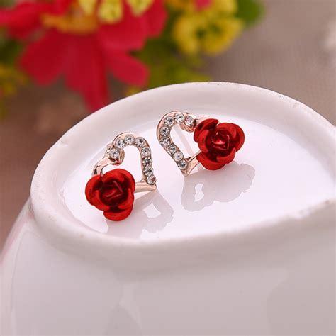 South Korean Fresh Flowers Earrings Pink Anting Panjang עגילים צמודים פשוט לקנות באלי אקספרס בעברית זיפי