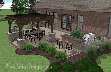 My Patio Design Creative Brick Patio Design With Pergola Pit Bar Mypatiodesign