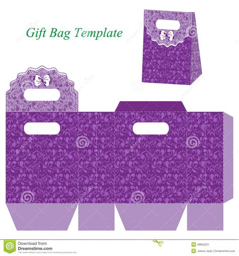 gift bag card template purple gift bag floral pattern bow vector illustration box