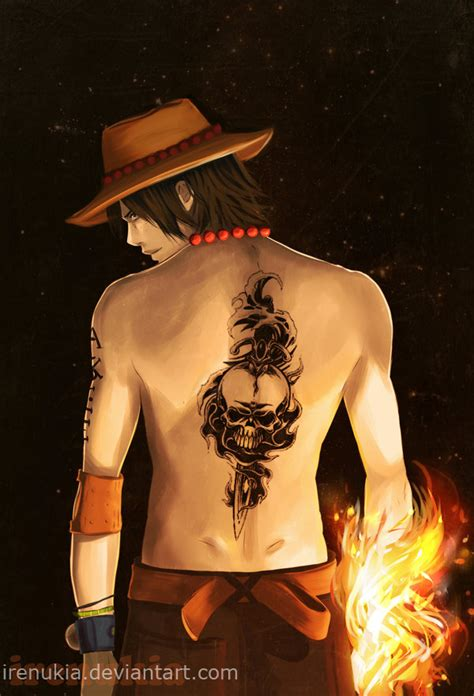 ace one piece back tattoo fire fist ace by irenukia on deviantart